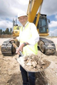 Peter Icklow, CEO of Monarch Investments, turning the first sod at The Meadows, Bardia